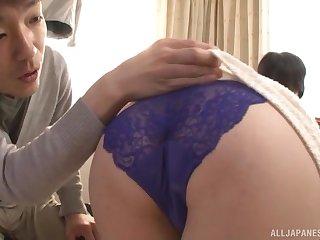 Japanese busty brunette MILF Shizuka Akiyama fucked doggy style