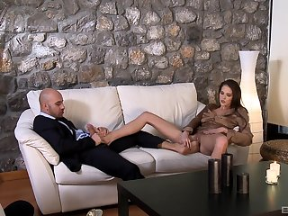 Silvie Deluxe rides a hard cock and gets cum on her bare feet