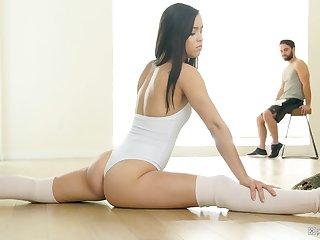 Gentle ballerina Alina Lopez fucks a cock in knee long socks