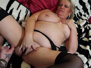 Blonde mature BBW Alisha Rydes wants cum on will not hear of juicy shaved pussy