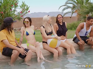 Pool party leads these two horny lovers to insane sex