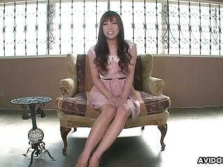 Giggling kawaii Japanese nympho gets say no to hairy pussy teased involving toy