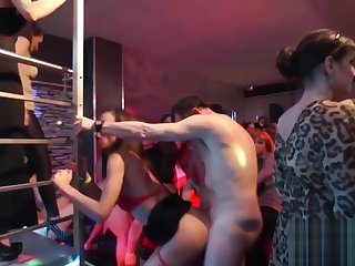 Gorgeous starlets get banged in the club