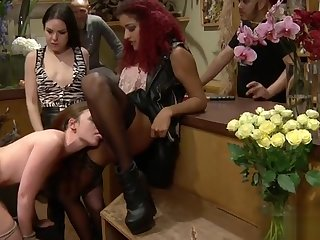 Tied brunette fucked close by flower shop