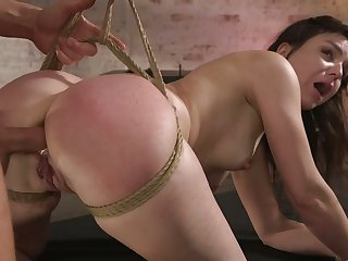 Secured up slutty nympho with sexy botheration Juliette Picket deserves some anal