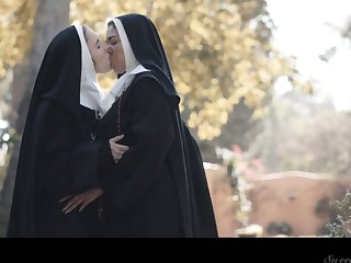 Horny nun Lena Paul can think only about sinful cunnilingus in sight
