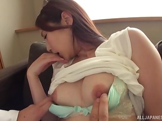 Sex-mad Japanese gets fucked by hard friend's penis while she moans