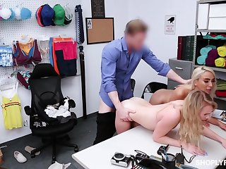 Security guy punishes shoplifting stepmom Kylie Kingston and her yummy stepdaughter