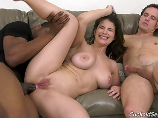 Cuckold husband jerks off while wife LaSirena69 rides a sooty cock