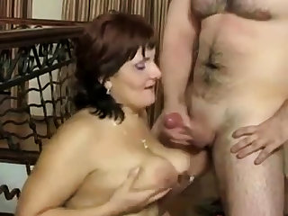 Russian mature Mam coupled with her boy! Amateur!