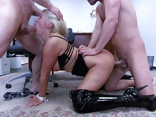 MILF gets two men to go harsh on her pussy with the addition of ass