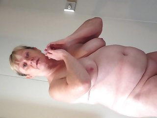 Bbw wife cruising increased by showing the brush big breasts increased by fat belly