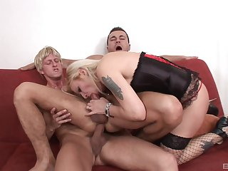 Amina is the only girl in the air the room via androgyne MMF threesome fun