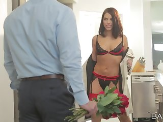 Lingerie diva teases man in perfect scenes in front getting laid