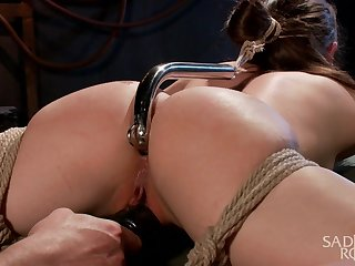Dude fucks anus be worthwhile for Casey Calvert with metal hook and plays with her tied up convention