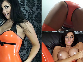 Alicia regarding Orange Zenith and Orange Stockings - LatexHeavenVideo