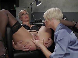Fair-haired MILF lesbian gets anal banged