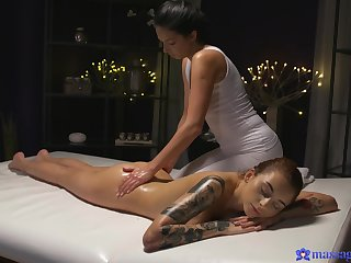 Smooth massage leads to fucking the greatest Foxxi Black and Dominika Dark