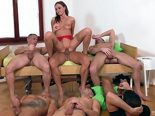 Tina Kay is be transferred to center of dedication during awesome gangbang fuck