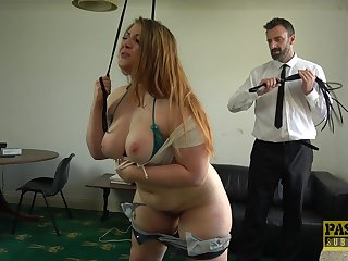 Chubby slut Estella Bathory gets her giant ass spanked and bite on the bullet fucked